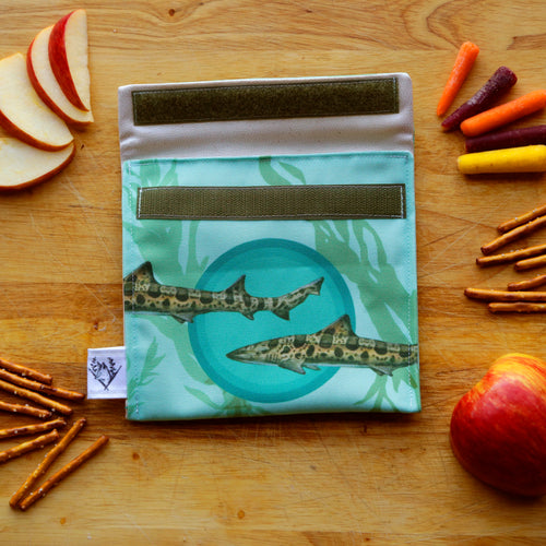 Kelp Forest Leopard Shark Reusable Snack Sandwich Bag - Zero Waste - Food Storage Bag - Eco-Friendly - Recycled Plastic Fabric