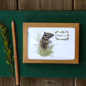 Set of 8 Chipmunk Thank You Cards