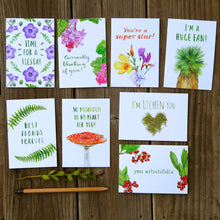 Set of 8 Flora & Fungi Pun Cards - Best Fronds, Time for a Fiesta, Lichen You, You Arbutifolia, Super Star, So Mushroom, Huge Fan, Currantly Thinking