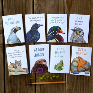 Set of 8 Animal Pun Cards - Mountain Of Love, Wood Quack You, Otter Celebrate, Raven About You, Owl Be There, So Hoppy, Top Knotch, Rock Star