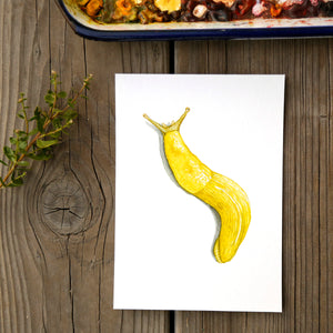 Banana Slug 5x7 Print - Native California Wildlife, Redwood forest print