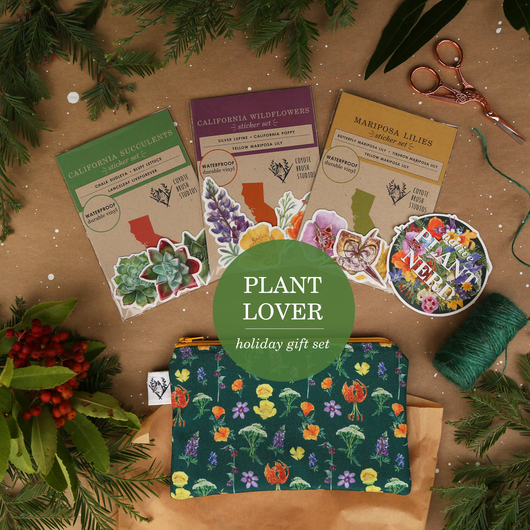 Plant Lover Themed Gift Sets with Stickers, Zipper Pouch