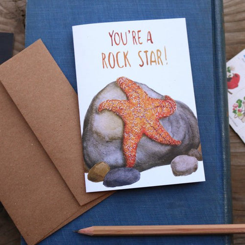 You're a ROCK STAR! Ochre Sea Star Punny Greeting Card