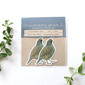 California Quail: Two Temporary Tattoos