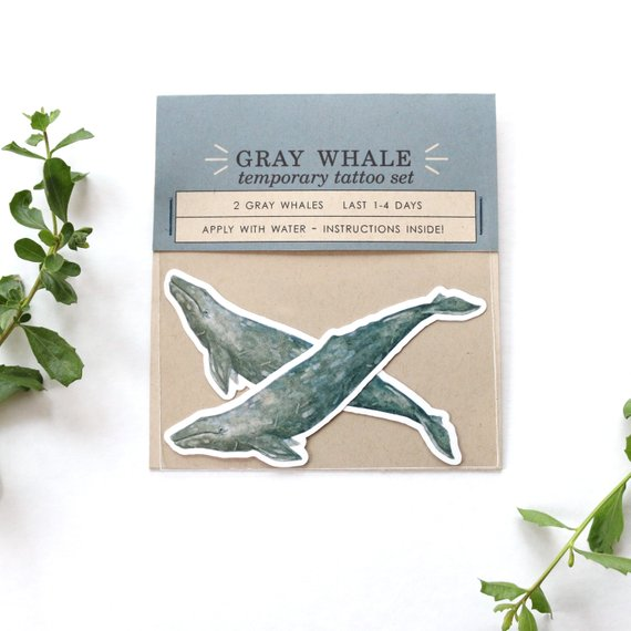Gray Whale: Two Temporary Tattoos