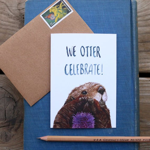 Native California sea otter watercolor greeting card
