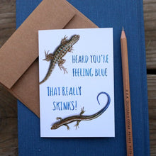 Native California western fence lizard western skink watercolor greeting get well card
