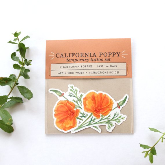 California Poppy: Two Temporary Tattoos