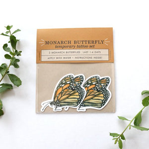Monarch Butterfly: Two Temporary Tattoos