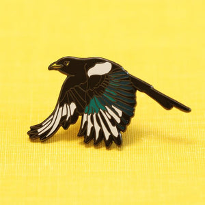 Yellow Billed Magpie Enamel Pin: California Native Bird Pin