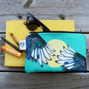 Yellow Billed Magpie Zipper Pouch Medium, Storage Bag, Flat Purse
