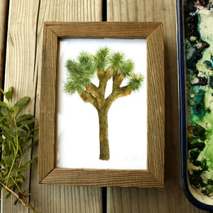 Joshua Tree  watercolor painting art print framed native California 5x7