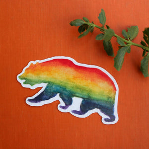 Pride Rainbow LGBTQ CA Pride Sticker Set: Two Vinyl Rainbow Bear Stickers