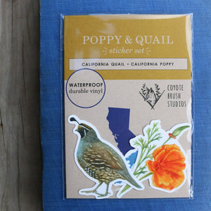 Poppy & Quail Sticker Set: Two Vinyl Stickers