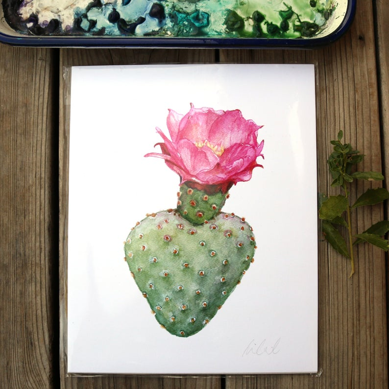 Beavertail cactus watercolor painting art print native California 8x10