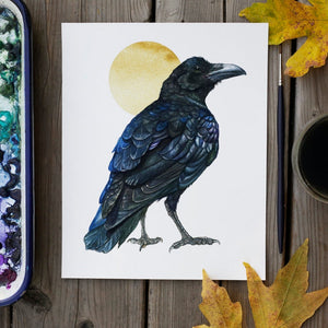 Northern Raven gold circle  watercolor painting art print native California 8x10