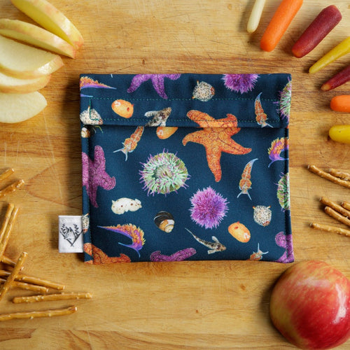 Tide Pool Reusable Snack Sandwich Bag - Zero Waste - Food Storage Bag - Eco-Friendly - Recycled Plastic Fabric- Intertidal Life