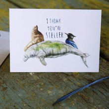 Native California steller's sea lion steller's sea cow steller's jay watercolor love card