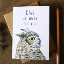 Native California great horned owl watercolor greeting card
