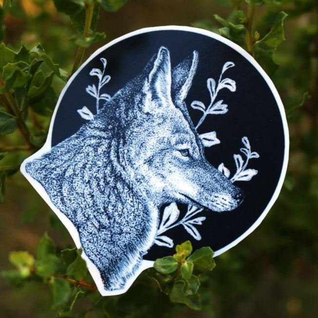 Coyote Sticker Set: Two Circular Vinyl Stickers