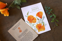 California Poppy  watercolor painting art print native California 5x7