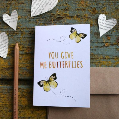 You Give Me Butterflies - Dogface Butterfly Love Card