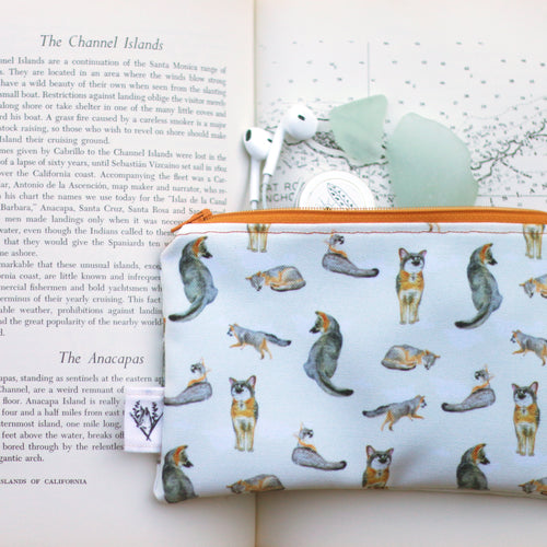 Island Fox Zipper Pouch Medium, Orange zipper, Organizer, Small Case