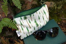 Redwood Forest Zipper Pouch Medium, Watercolor Botanical Illustration, Travel Organizer Bag, Flat Purse