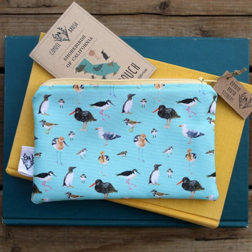 Blue Shorebirds & Friends Zipper Pouch Medium, Travel Organizer Bag, Flat Purse, Pencil and Art Case
