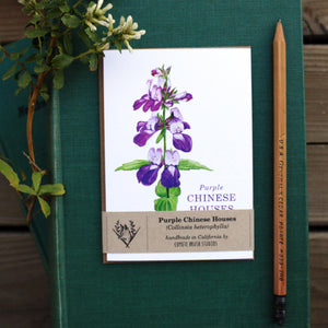 Purple Chinese Houses Greeting Card, Wildflower Note Card