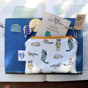 Island Fox Zipper Pouch Coin Size Purse Organizer - Orange Zipper