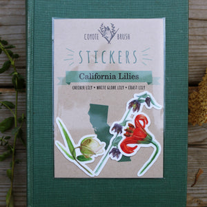 California Lilies Stickers: Checker lily, Globe Lily, Coast Lily Vinyl Sticker Set