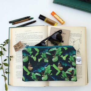 Pipevine Swallowtail Zipper Pouch Medium, Watercolor Botanical Illustration, Travel Organizer Bag, Flat Purse, Pencil Zipper Pouch