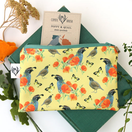 California Poppy, Quail, Zipper Pouch Watercolor Botanical Illustration, Travel Organizer Bag, Flat Purse, Pencil Case