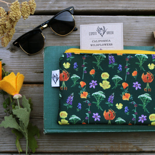 California Wildflowers Zipper Pouch, Watercolor Botanical Illustration, Travel Organizer Bag, Flat Purse, Pencil Zipper Pouch