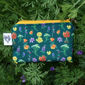 Small California Wildflowers Zipper Pouch Coin Size Purse Organizer