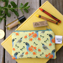 Small California Poppy, Quail and Dogface Butterfly Coin Zipper Pouch, Watercolor Botanical Illustration, Travel Organizer Bag, Flat Purse