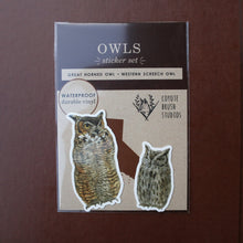 Owl Stickers: Two Vinyl Stickers, Great Horned Owl, Western Screech Owl - Birds Of Prey Stickers - Raptors - Birding gift