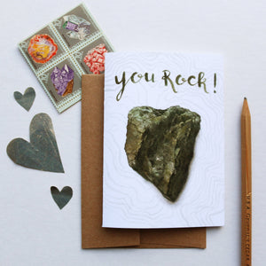 You Rock Card, pun card, valentine's day card, friendship card, serpentinite card, California greeting card
