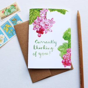 Currantly Thinking Of You Greeting Card, pun valentine's day card, plant card, currant, friendship card