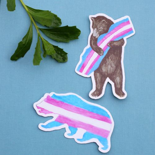 Pride Trans CA Pride Sticker Set: Two Vinyl Trans Flag Bear Stickers