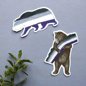 California Asexual Pride Sticker Set: Two Ace Flag Bear Stickers - LGBTQIA+ Pride Gift - Gay Pride- California Bear