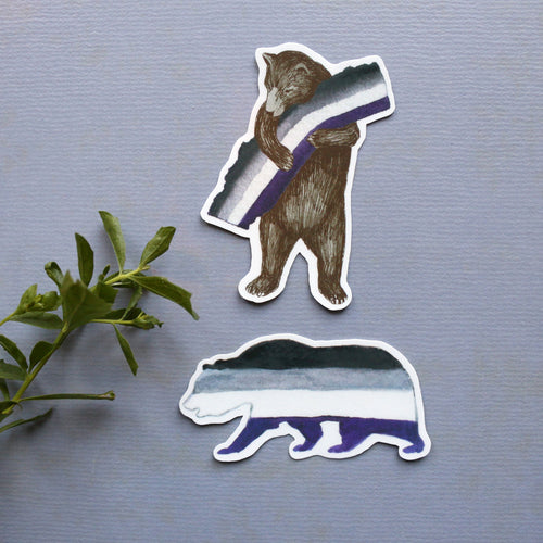 Pride Asexual CA Pride Sticker Set: Two Ace Flag Bear Stickers - LGBTQIA+ Pride Gift - Gay Pride- California Bear
