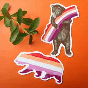 Pride Lesbian CA Pride Sticker Set: Two Sunset Lesbian Flag Bear Stickers - LGBTQIA+ Pride Gift - Gay Pride- California Bear