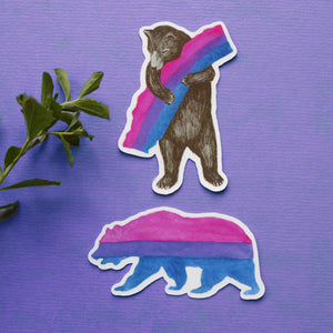 Pride Bisexual CA Pride Sticker Set: Two Bi Flag Bear Stickers - LGBTQIA Pride Gift - Gay Pride- California Bear - Queer