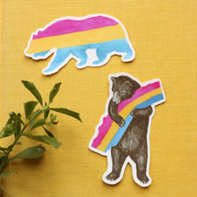 Pride Pansexual CA Pride Sticker Set: Two Pan Flag Bear Stickers - LGBTQIA+ Pride Gift - Gay Pride- California Bear