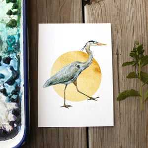 Great Blue Heron  watercolor painting art print native California 5x7
