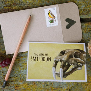 Native California smilodon saber-tooth cat watercolor love card