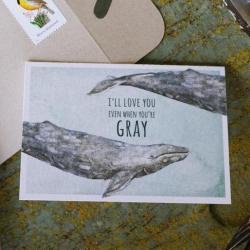 Native California gray whale watercolor love card