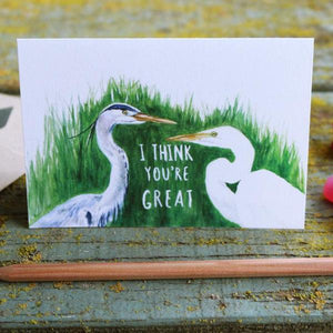 Native California great blue heron great egret watercolor love card